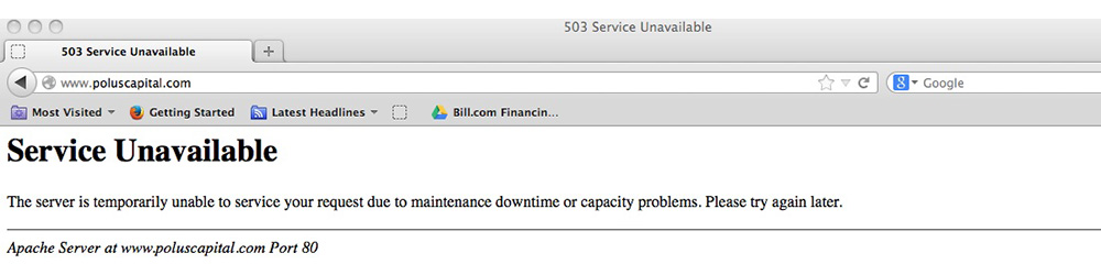 503 service unavailable server is at capacity